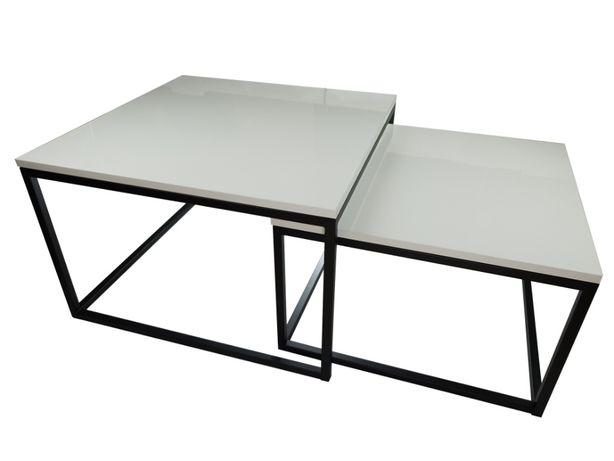 Ława stolik kawowy industrialny loftowy biały połysk mały 2w1 czarny