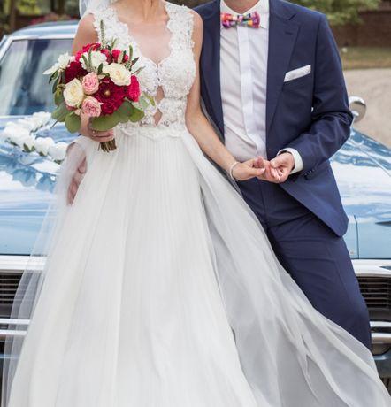 Suknia ślubna Emmi Mariage 34/36 + koło + krótki welon Muślin koronka