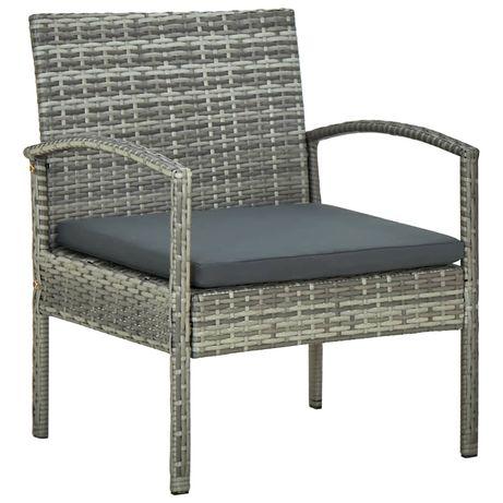 vidaXL Cadeira de jardim com almofadão vime PE cinzento 45796