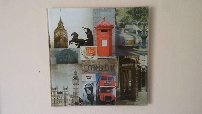 Obraz szklany dekoracja ścienna LONDYN retro vintage