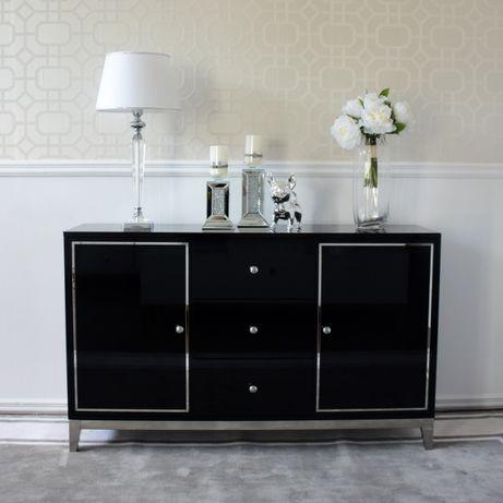 Komoda glamour lakierowana drewniana na stalowych nogach czarna