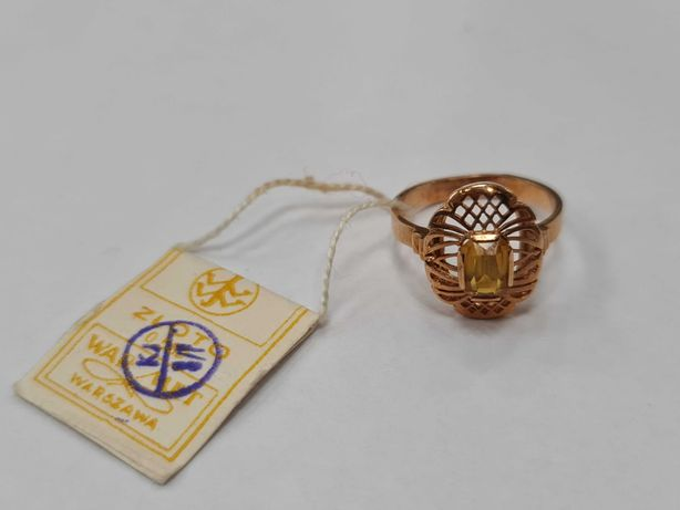 Warmet! Złoty pierścionek damski/ 585/ 3.80 gram/ R15/ II poł XX wieku
