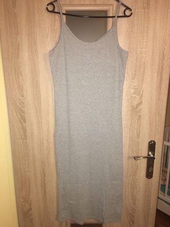 Sukienka szara, bawełniana 44/46 jak nowa, elastyczna, plus size