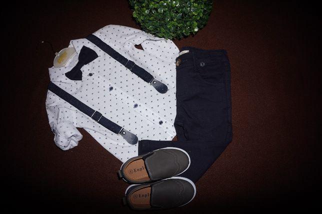 M.GRANAT Garnitur 86/92 koszula spodnie mucha szelki zestaw komplet