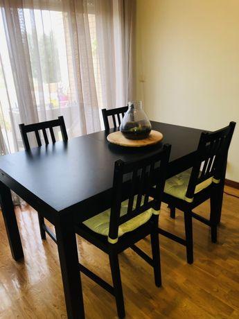 Conjunto Mesa Jantar Extensivel + 4 Cadeiras wengue