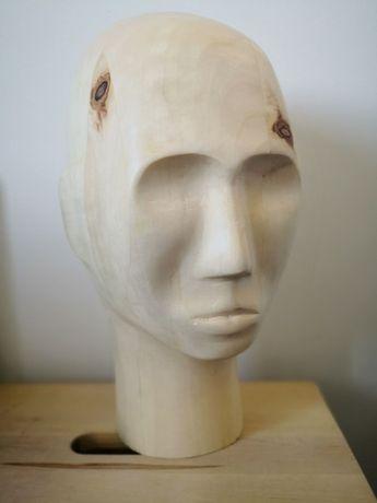 Głowa ekspozytor rzeźba drewniana drewno manekin czapki opaski okulary