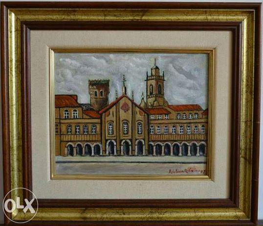 Envio grátis! Arcada- Braga Tela pintada à mão a óleo moldura 31x39cm