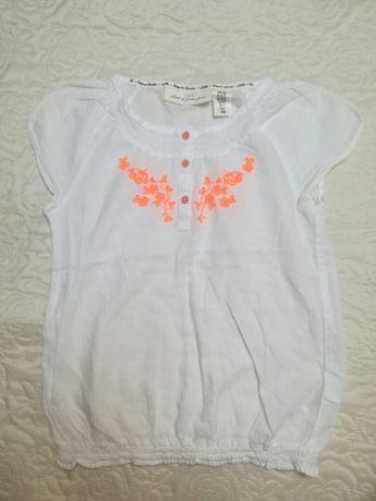 koszulka biała dziewczęca ,z haftem neonowo pomarańczowym ,L.O.G.G