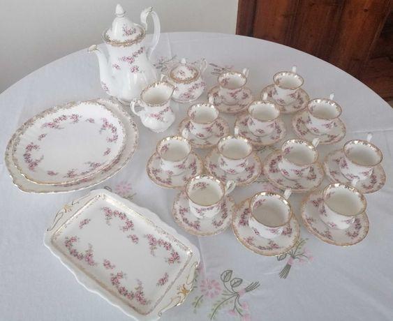 Serviço 12 café porcelana Royal Albert-Mod.Dimitri Rose BAIXA PREÇO