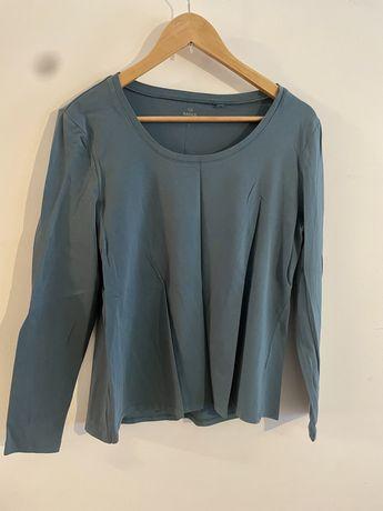 Prosta gładka bluzka C&A długi rękaw bawełna morska 40 L