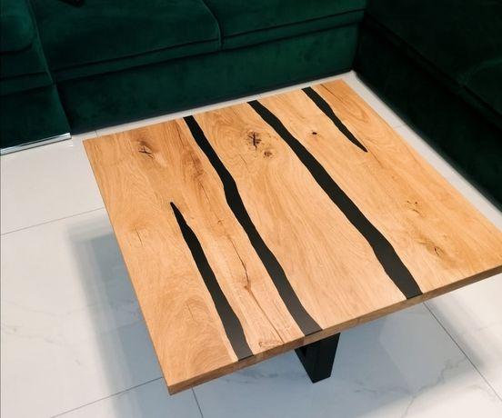 Stolik kawowy dębowo-stalowy LOFT BLACK RESIN 90x90x45