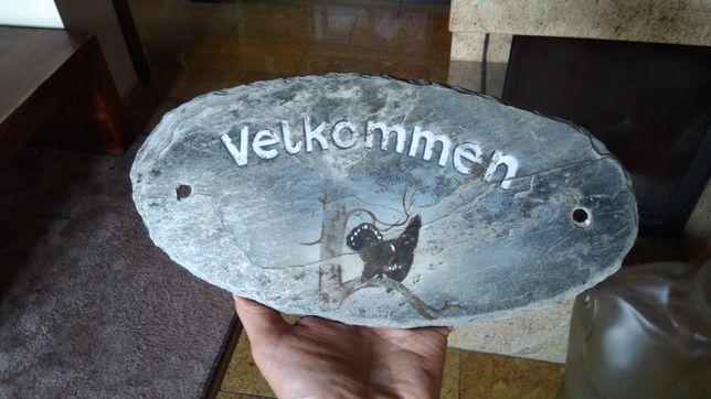 Tabliczka na drzwi, kamień naturalny, łupek malowany ręcznie