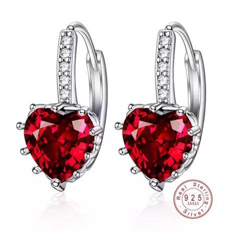 Kolczyki rubinowe serce srebro 925 kryształ cyrkonie