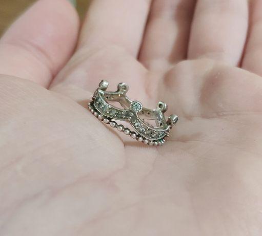 Серебряное кольцо корона, размер 15,5