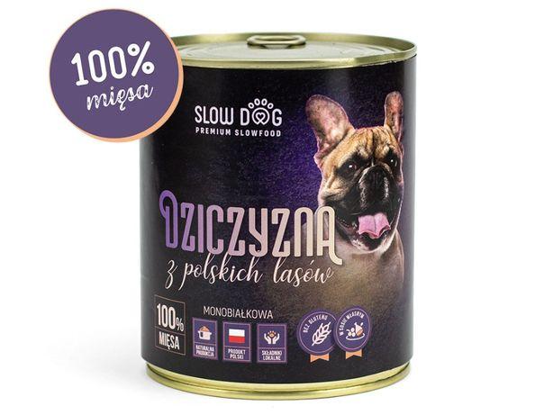 SLOW DOG - Karma mokra dla psa - Dziczyzna - 100% mięsa
