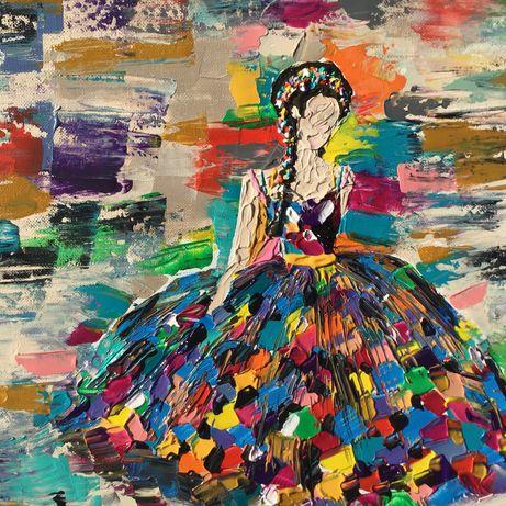 """Tela/quadro acabado de pintar acrílico abstracto """"Debutante"""""""