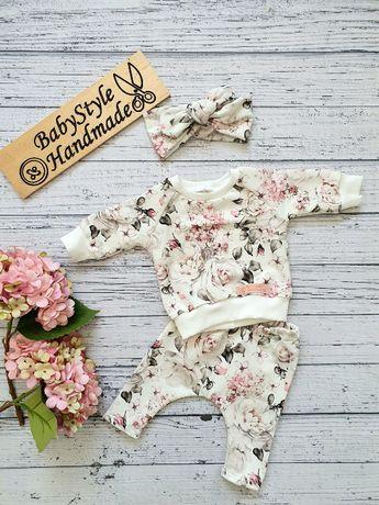 Dres bluza bluzka leginsy HANDMADE BabyStyle dla dziecka Białe róże
