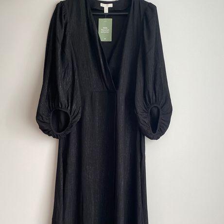 Czarna długa sukienka H&M
