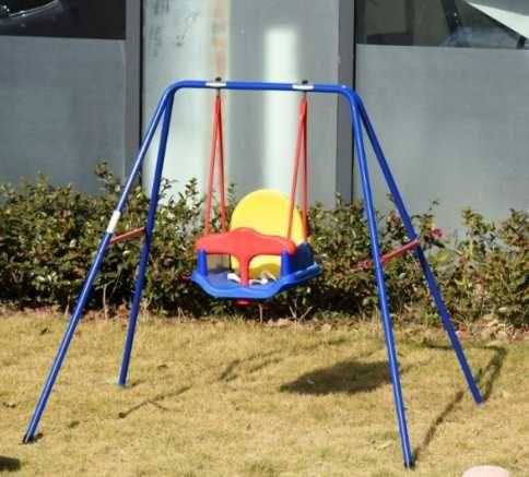 Baloiço para crianças com suporte de metal e cinto de segurança