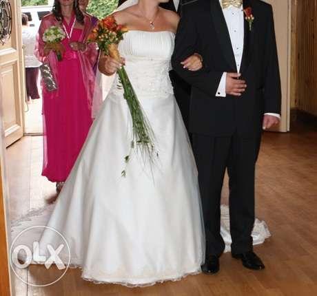 suknia ślubna w kolorze szampana tren tiul zamek zdobienia rozm 40 L