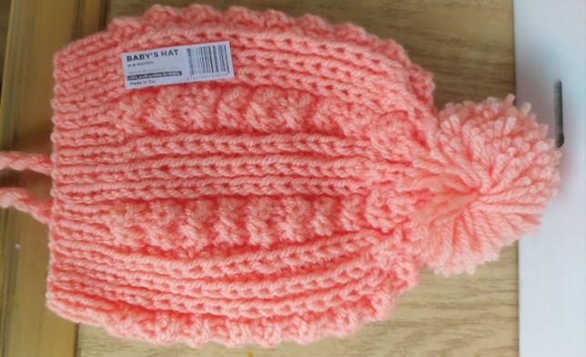 НОВАЯ! Зимняя вязаная шапка для девочек, для новорожденных, 0-6 мес
