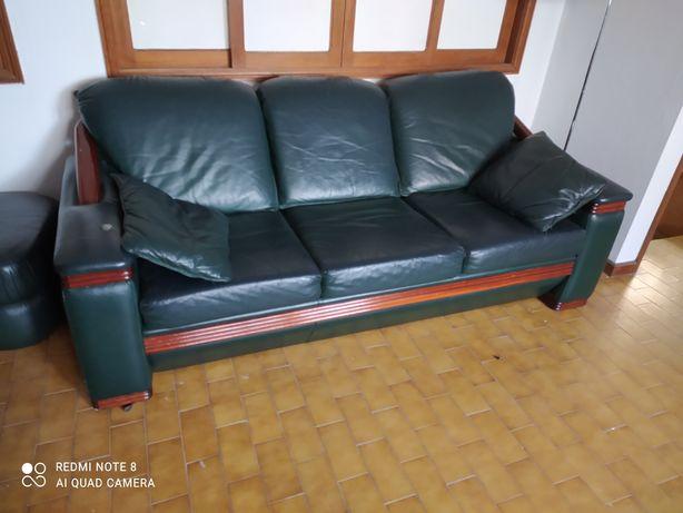 Conjunto de 2 sofás couro genuino