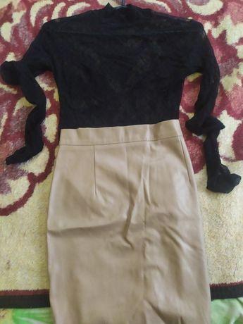 Женская юбка и гольф-сетка/боди