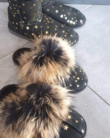 Eleganckie klapki z jenotem śniegowce damskie