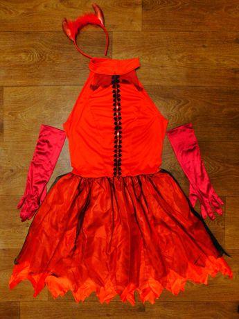 платье чертенок с рожками 8-10 лет Хэллоуин Halloween вампир черт