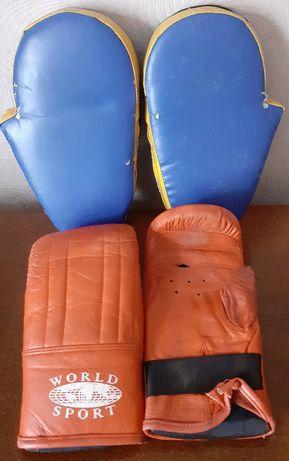 Продам б/у кожаные лапы для единоборств/бокса+накладки БЕСПЛАТНО