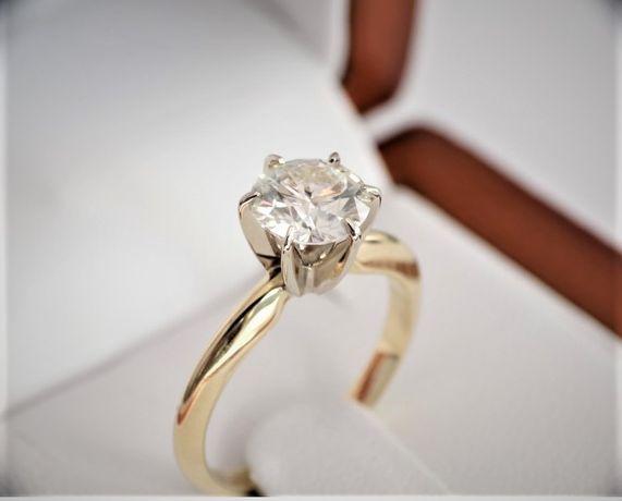 Pierścionek 585 z diamentem brylantem 1 CT D SI2 Zaręczynowy Excellent