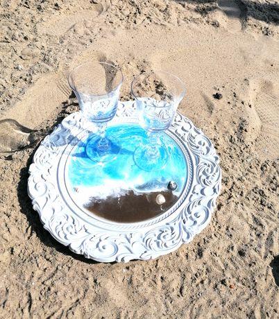 Taca dekoracyjna z żywicy epoksydowej morska ażurowa decoczar