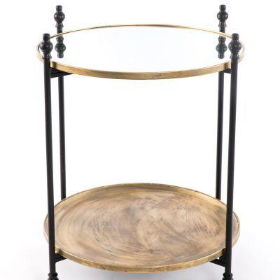 Mesa apoio dourado velho Preto Sidetable Old Gold - by OVO Home Design