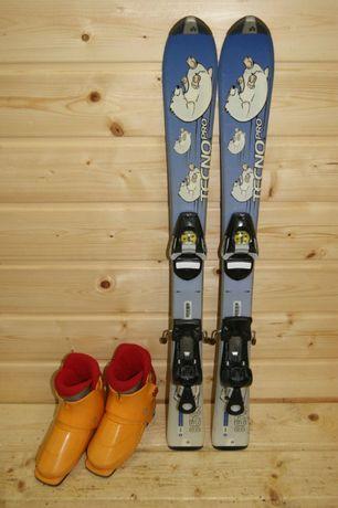 1077 ZESTAW narty Tecno 90 cm + buty Nordica 19 KIELCE