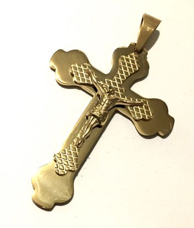 Złoty duży krzyż zawieszka do łańcuszka•pozłacany ogniowo 18 K