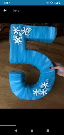 Цифра 5 п'ять розтяжка з Ельзою Elsa Frozen Anna Холодне серце