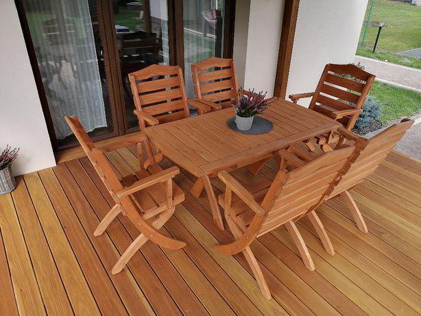 Meble ogrodowe drewniane tarasowe składane komplet typ T