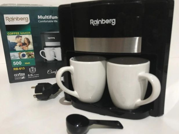 Кофеварка Rainberg 500Вт, Новая Капельная на две чашки