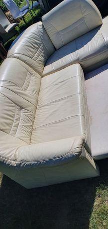 skorzany naroznik rozkladany+fotel zestaw