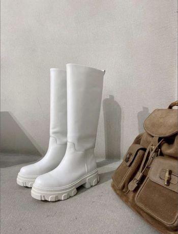 Белые трендовые сапоги gia couture &  pernille (zara) 38, 38.5 р.