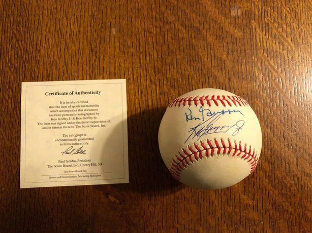 Piłka baseball oryginalny autograf Ken Griffey Jr i Sr certyfikat COA