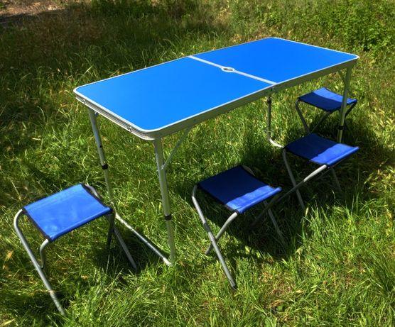 Раскладной удобный стол - чемодан для пикника 60*120 см + 4 стула
