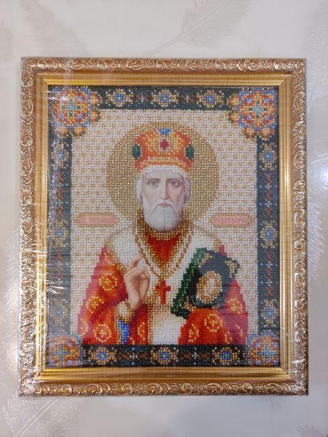 Продам Икону Св.Николай вышита Чешским бисером.