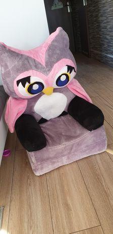 Fotel pluszowy rozkladany leżanka Sowa fotelik kanapa