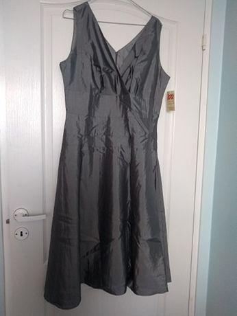OKAZJA! Sukienka z tafty, srebrnoszara, rozmiar 44 z Bon Prix