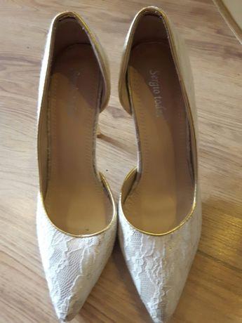 Złoto-białe szpilki ślub,wesele i inne okazje
