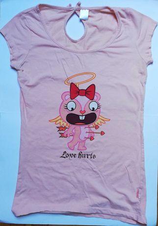 """Koszulka z krótkim rękawem, z nadrukiem i napisem """"Love hurts"""" (M/L)"""