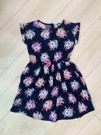 Платье H&M р 4-5 лет с единорогами