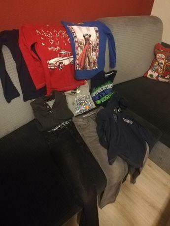 Zestaw ubrań chłopiec 122 128 spodnie bluza koszulka z długim rękawem