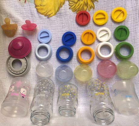 Nuk - biberões de vidro e copo antivazamento